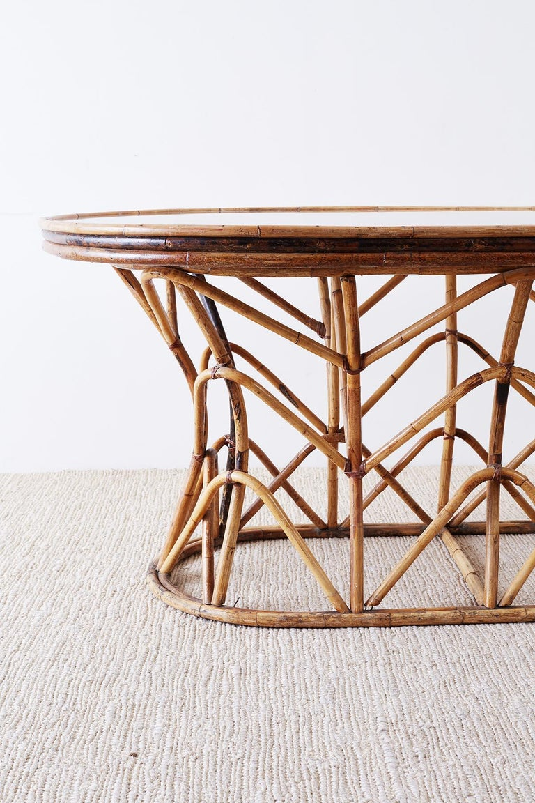 Franco Albini Style Sculptural Bamboo Rattan Dining Table In Good Condition For Sale In Oakland, CA