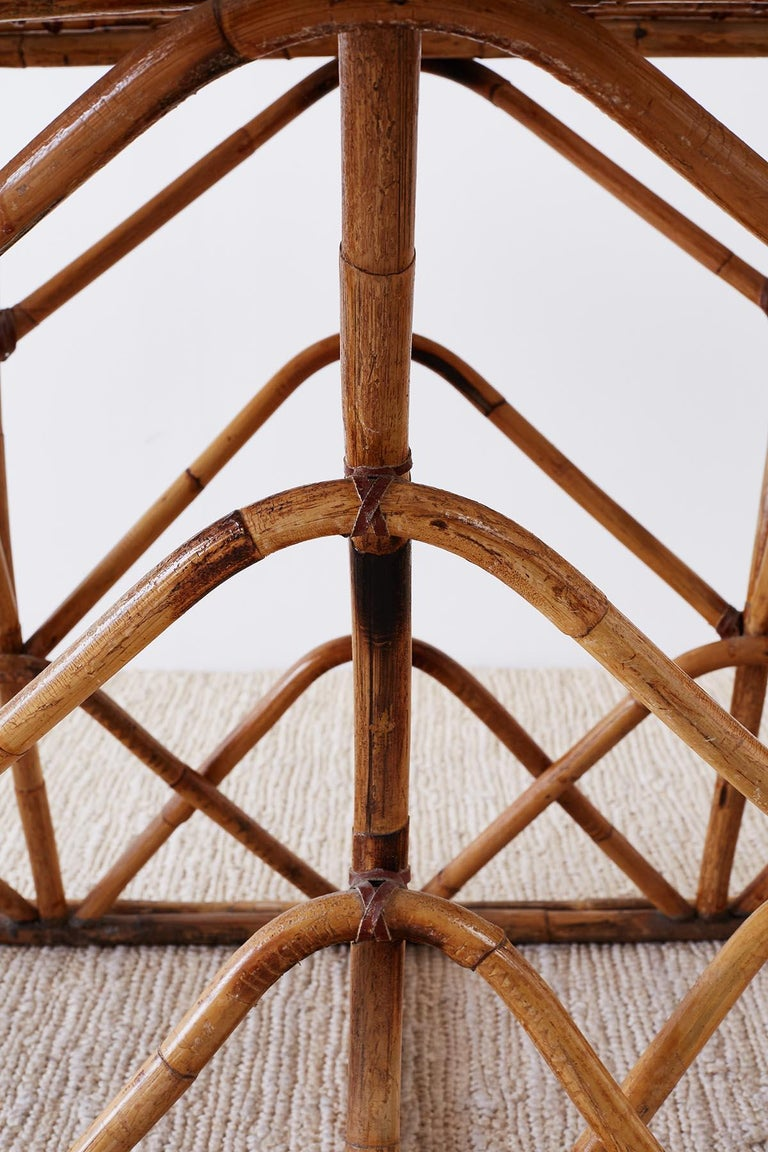 20th Century Franco Albini Style Sculptural Bamboo Rattan Dining Table For Sale