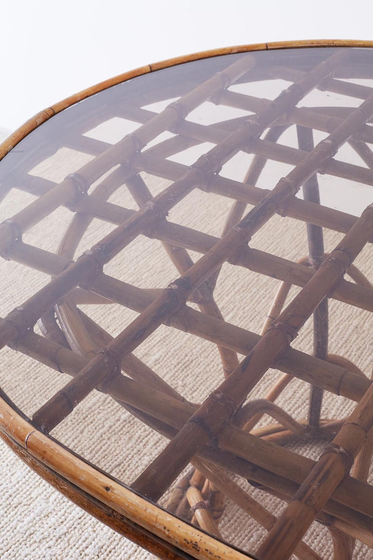 Leather Franco Albini Style Sculptural Bamboo Rattan Dining Table For Sale