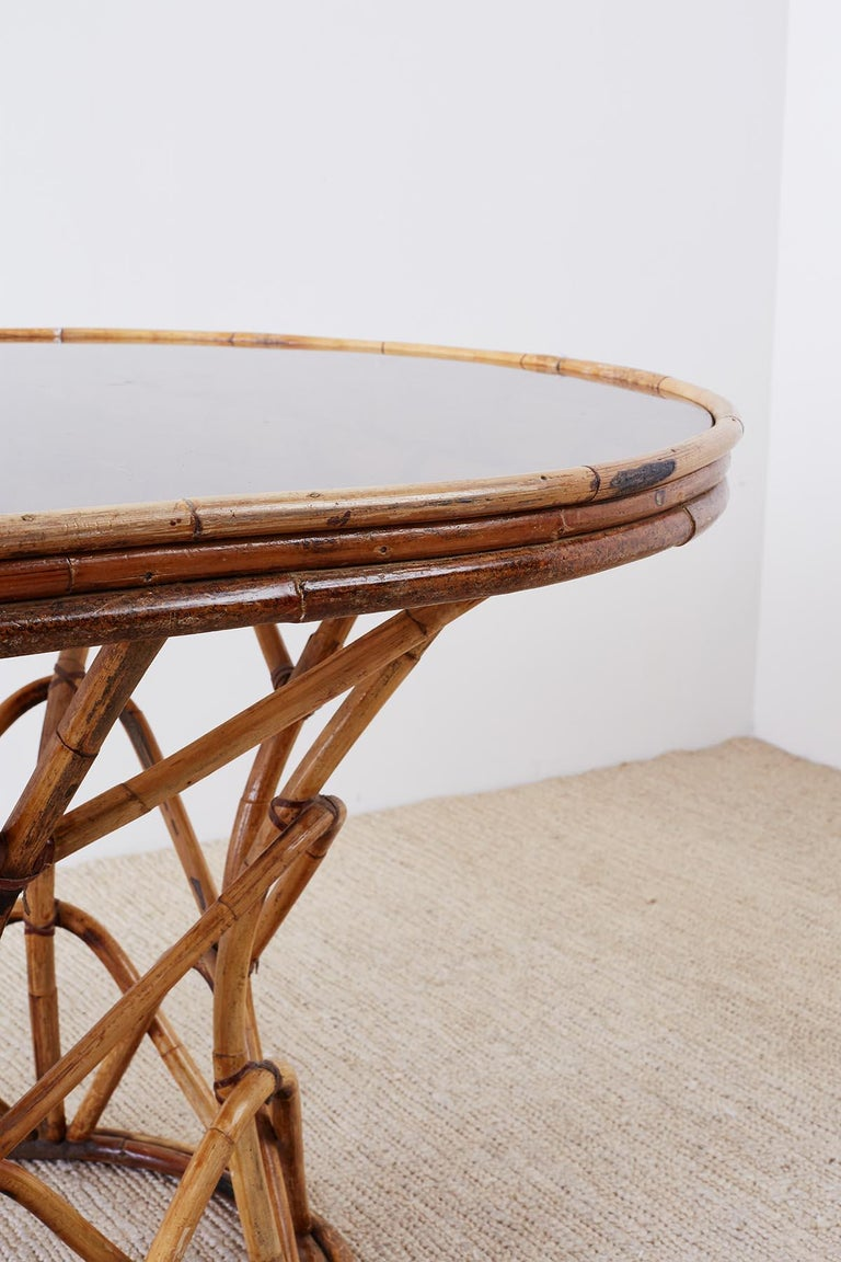 Franco Albini Style Sculptural Bamboo Rattan Dining Table For Sale 1