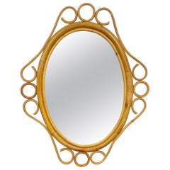 Franco Albini Style Wall Mirror in Rattan, Italy, 1960s Italian Riviera