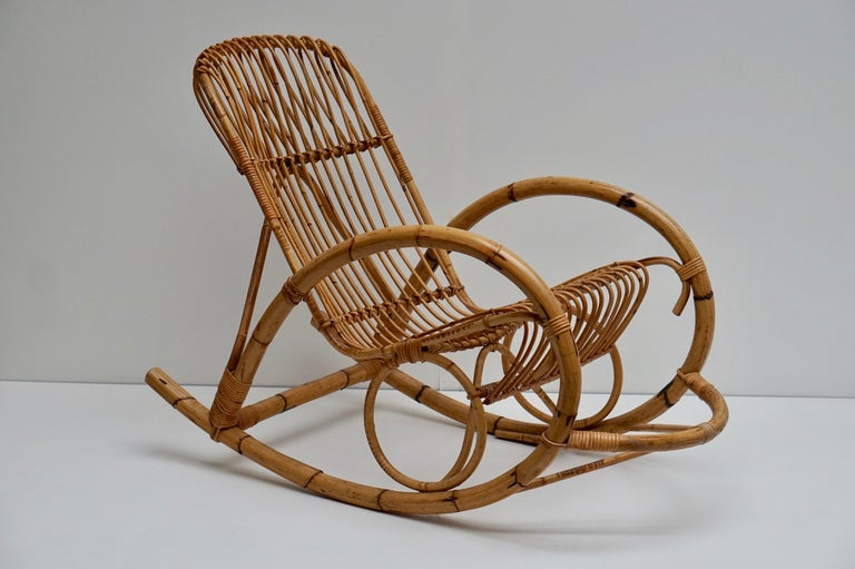 Hollywood Regency Franco Albini Style Wicker Bamboo Rocking Chair For Sale