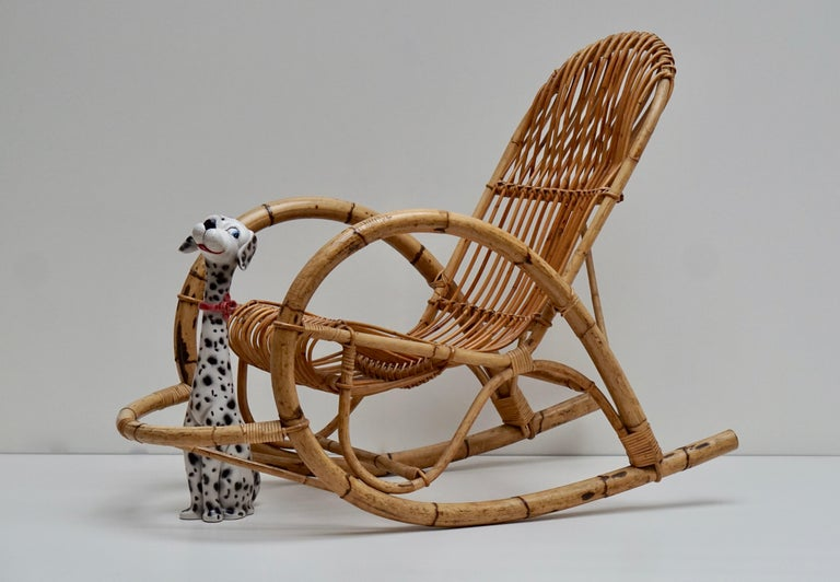 20th Century Franco Albini Style Wicker Bamboo Rocking Chair For Sale