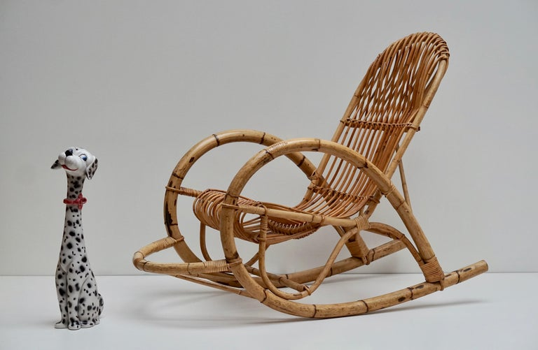 Franco Albini Style Wicker Bamboo Rocking Chair For Sale 1