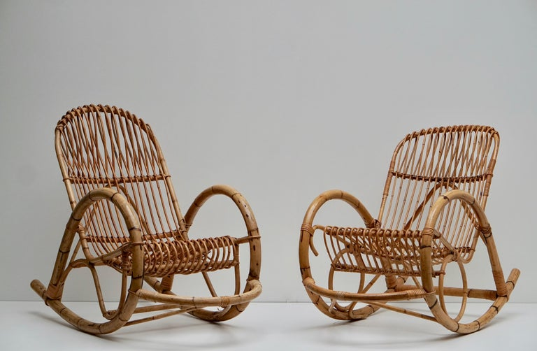 Franco Albini Style Wicker Bamboo Rocking Chair For Sale 2