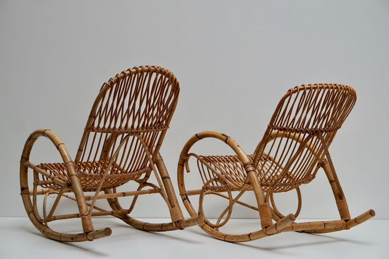 Franco Albini Style Wicker Bamboo Rocking Chair For Sale 3