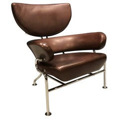 Franco Albini, Tre Pezzi Mid-Century Modern, Italian Brown Leather Lounge Chair