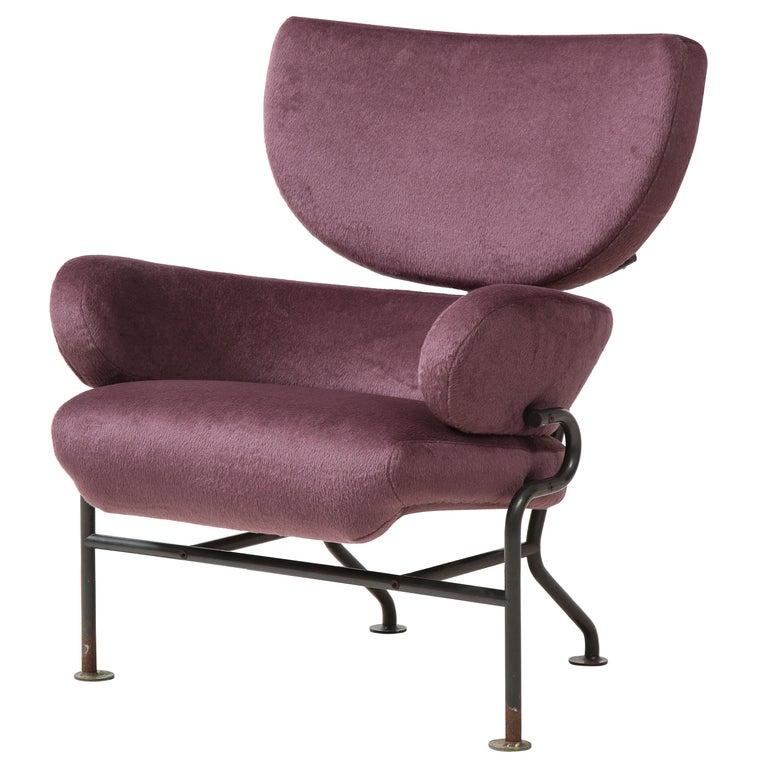 "Franco Albini ""Tre Pezzi"" Purple Alpaca Pl 19 Armchair, Italy, c. 1959 For Sale"