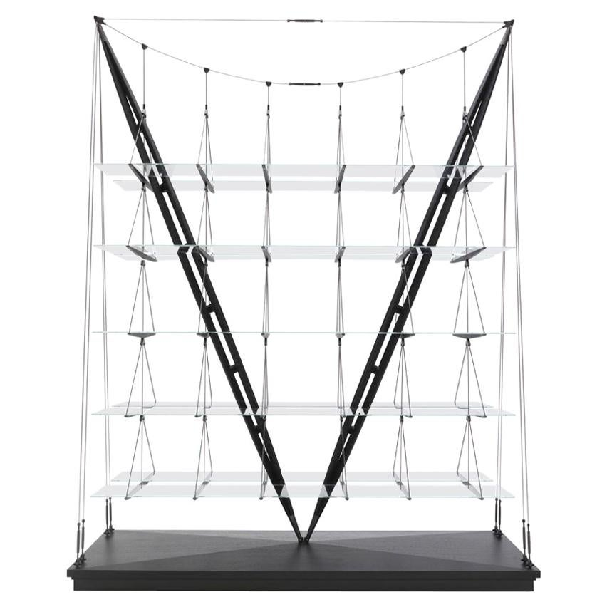 Franco Albini Veleiro Bookcase, Black Stained Wood by Cassina
