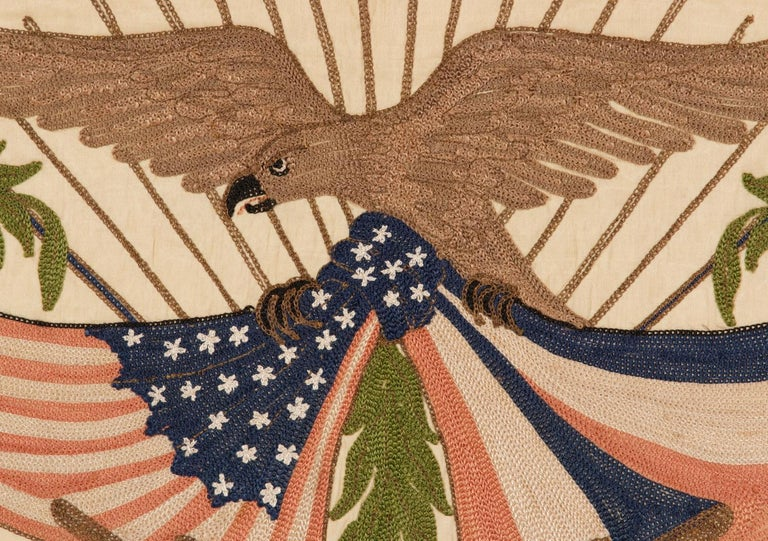 Franco-American Textile with the Image of an Eagle Holding the American and Flag In Good Condition For Sale In York County, PA