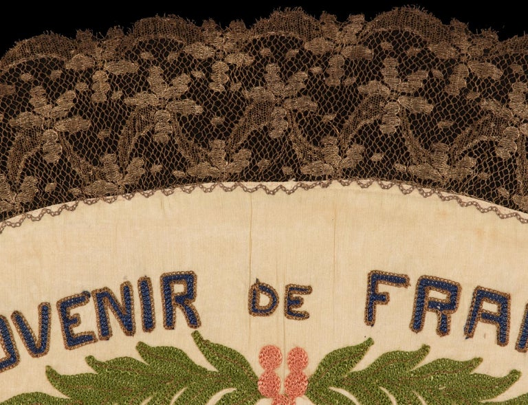Silk Franco-American Textile with the Image of an Eagle Holding the American and Flag For Sale