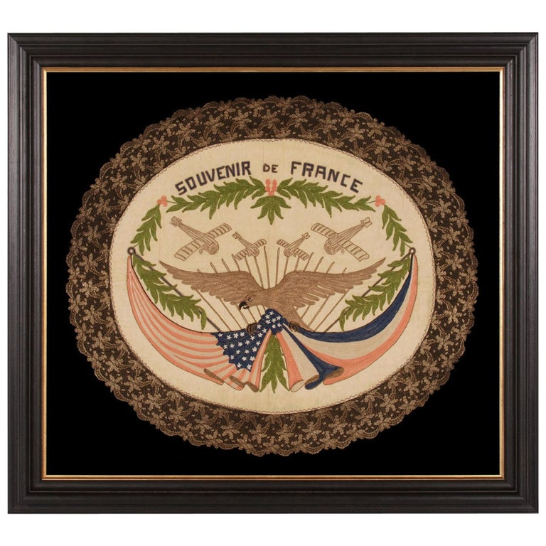 Franco-American Textile with the Image of an Eagle Holding the American and Flag For Sale