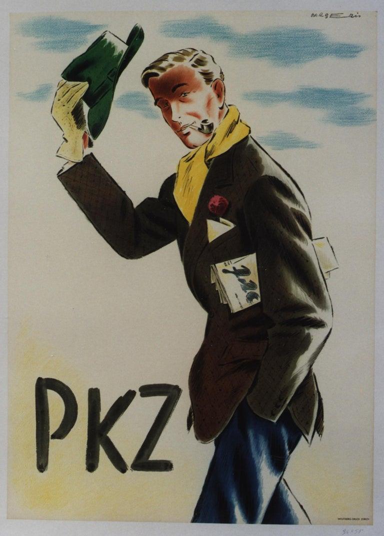 Franco Barberis Figurative Print - PKZ [Man Tipping His Hat].