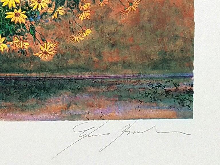 Vase of Jerusalem Artichoke Flowers - Original Screen Print by F. Bocchi - Beige Figurative Print by Franco Bocchi