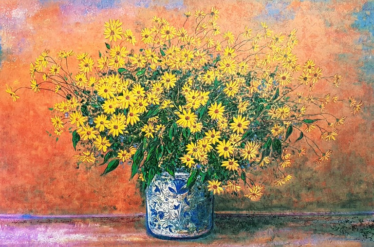 Vase of Jerusalem Artichoke Flowers - Original Screen Print by F. Bocchi For Sale 1