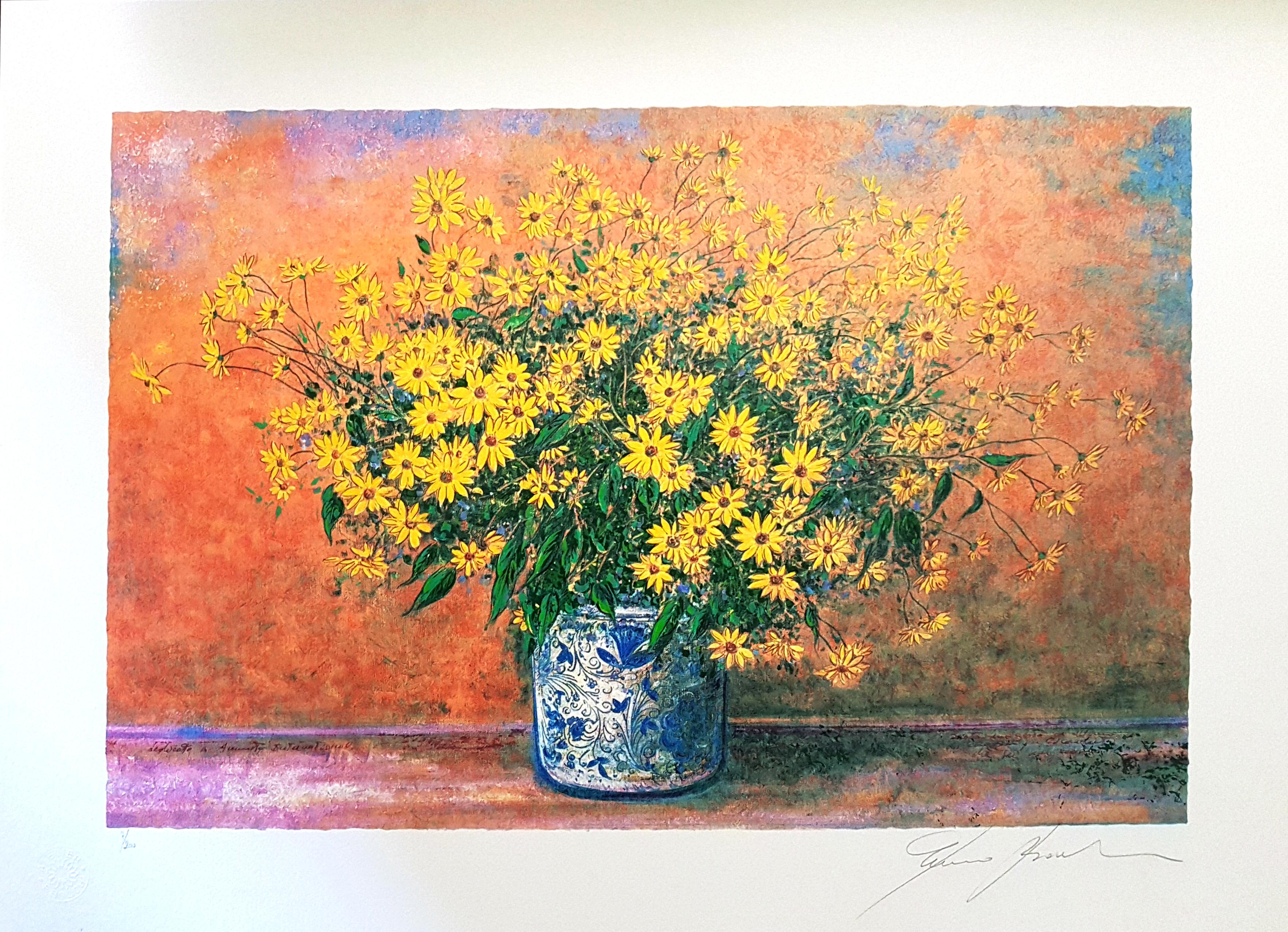 Vase of Jerusalem Artichoke Flowers - Original Screen Print by F. Bocchi