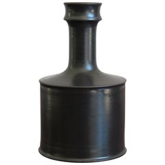 Franco Bucci Italian Black Ceramic Bottle Vase, 1970s