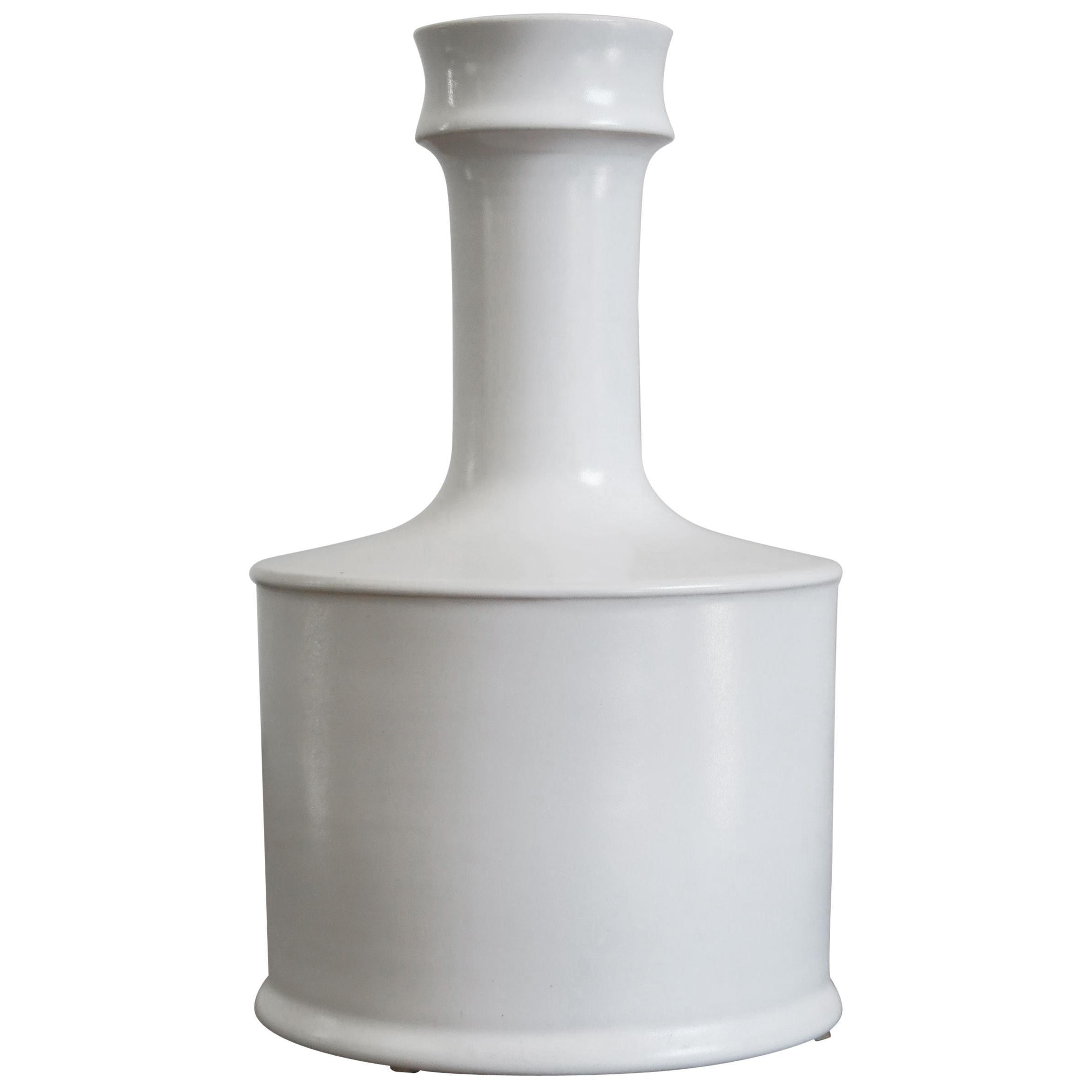Franco Bucci Italian White Ceramic Bottle Vase, 1970s