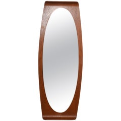 Franco Campo and Carlo Graffi Wall Mirror in Curved Wood, Italy, 1960s