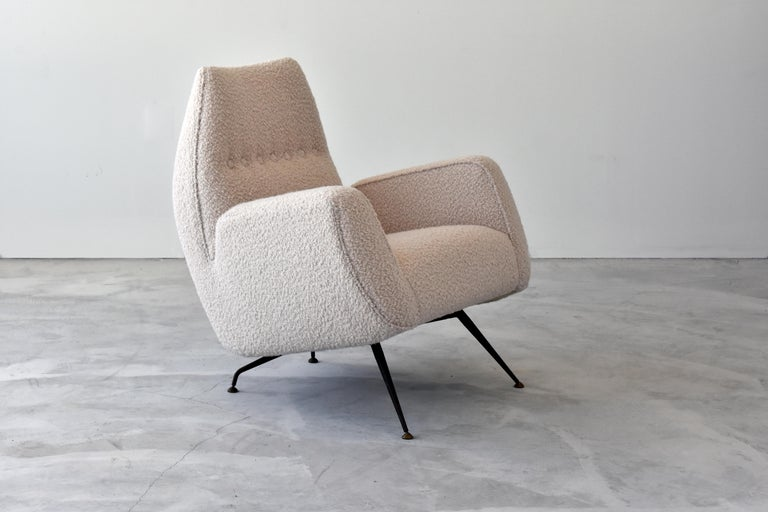 Mid-Century Modern Franco Campo, Carlo Graffi 'Attribution' Lounge Chair, Fabric Metal, 1948, Italy For Sale