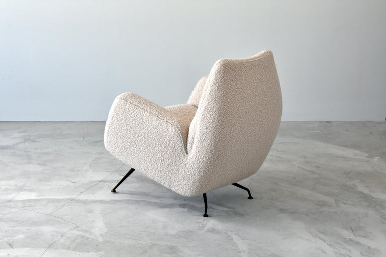 Mid-20th Century Franco Campo, Carlo Graffi 'Attribution' Lounge Chair, Fabric Metal, 1948, Italy For Sale