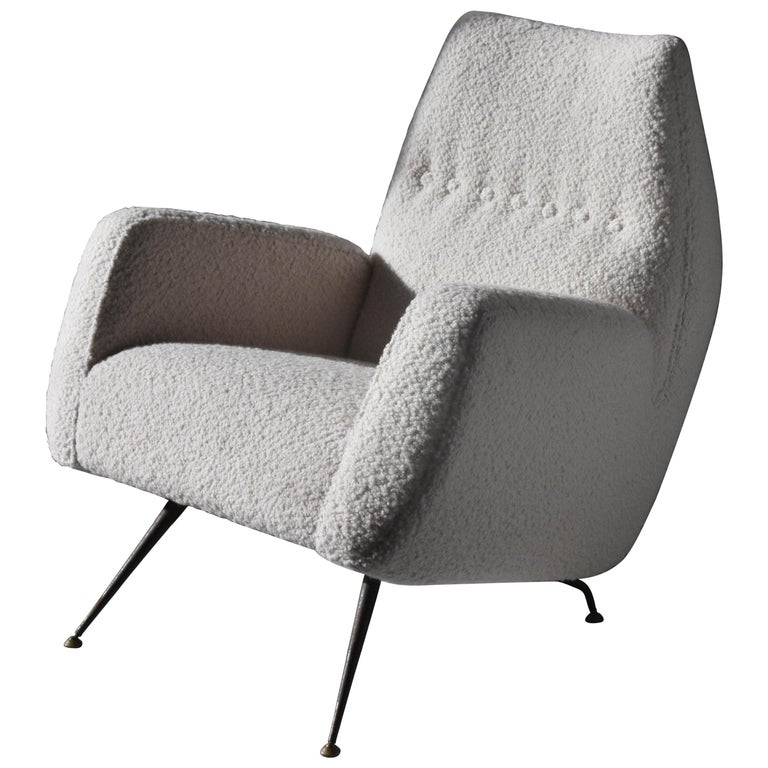 Franco Campo, Carlo Graffi 'Attribution' Lounge Chair, Fabric Metal, 1948, Italy For Sale