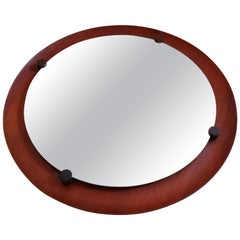 Franco Campo & Carlo Graffi Teak and Rosewood Mirror Made in Italy