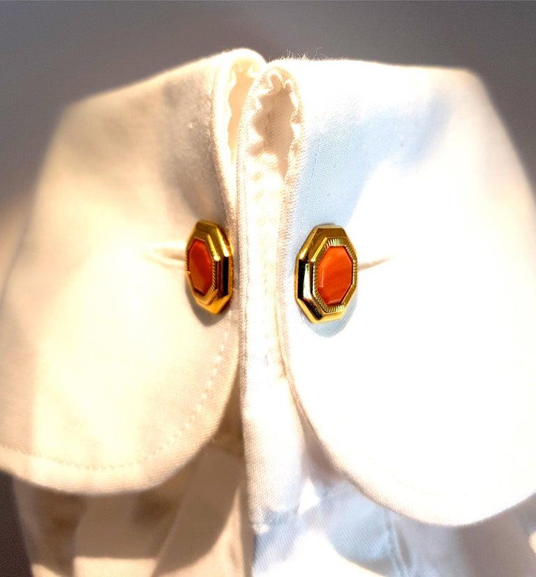 Art Deco Franco Corti Italian 18 Karat Gold and Sardinian Coral Cufflinks For Sale
