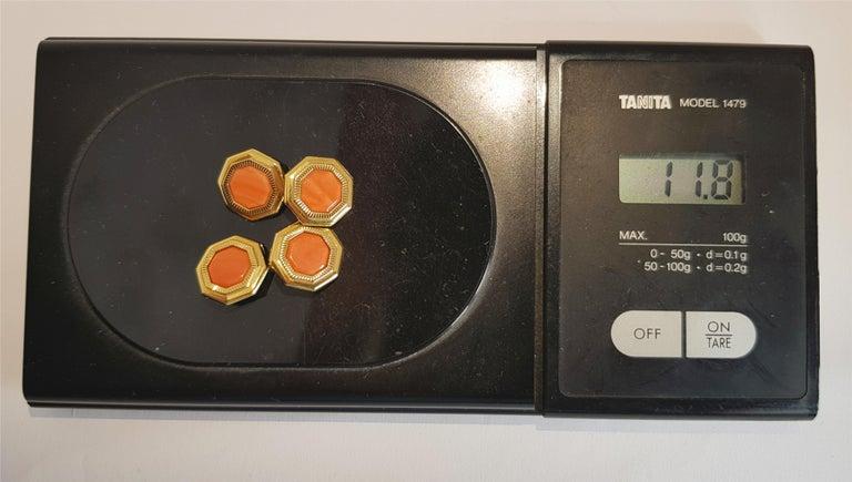 Octagon Cut Franco Corti Italian 18 Karat Gold and Sardinian Coral Cufflinks For Sale