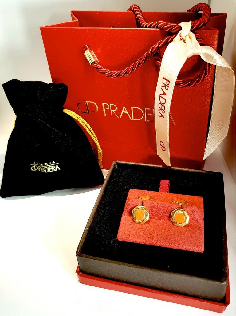 Men's Franco Corti Italian 18 Karat Gold and Sardinian Coral Cufflinks For Sale