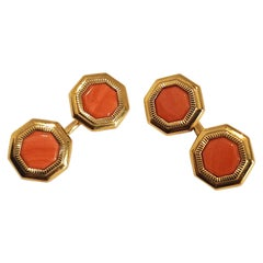 Franco Corti Italian 18 Karat Gold and Sardinian Coral Cufflinks