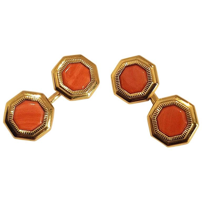 Franco Corti Italian 18 Karat Gold and Sardinian Coral Cufflinks For Sale