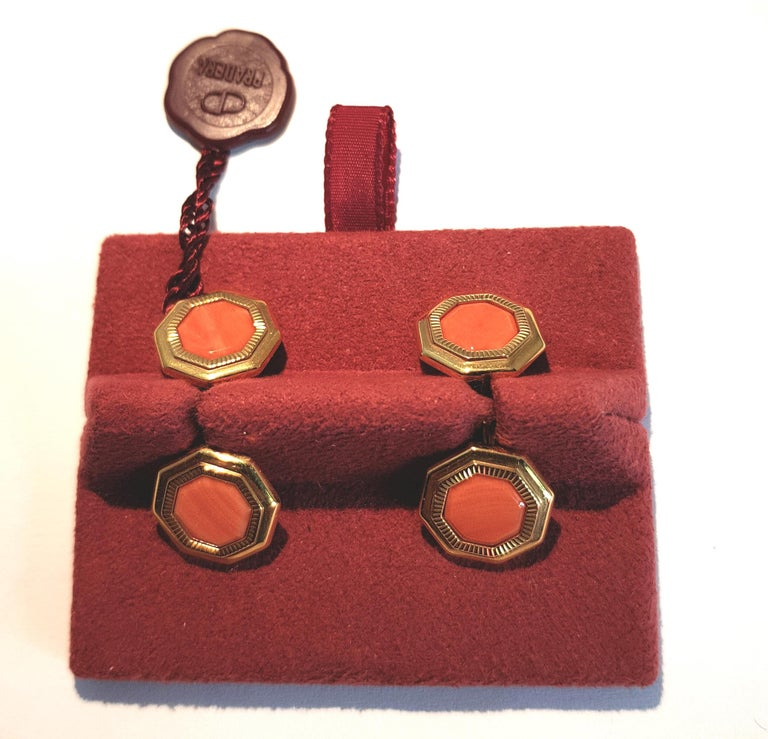 Men's Franco Corti Italian 18 Karat Gold and Sardinian Coral Cufflinks For Sale