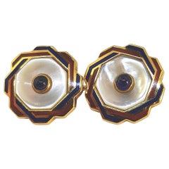 Franco Corti Italian Gold and Enamel and Sapphire Cufflinks