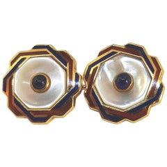 Franco Corti Italian Gold and Enamel and Sapphire Cufflinks