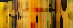 Sublimation - warm, vibrant, geometric abstraction, digital art on resined panel