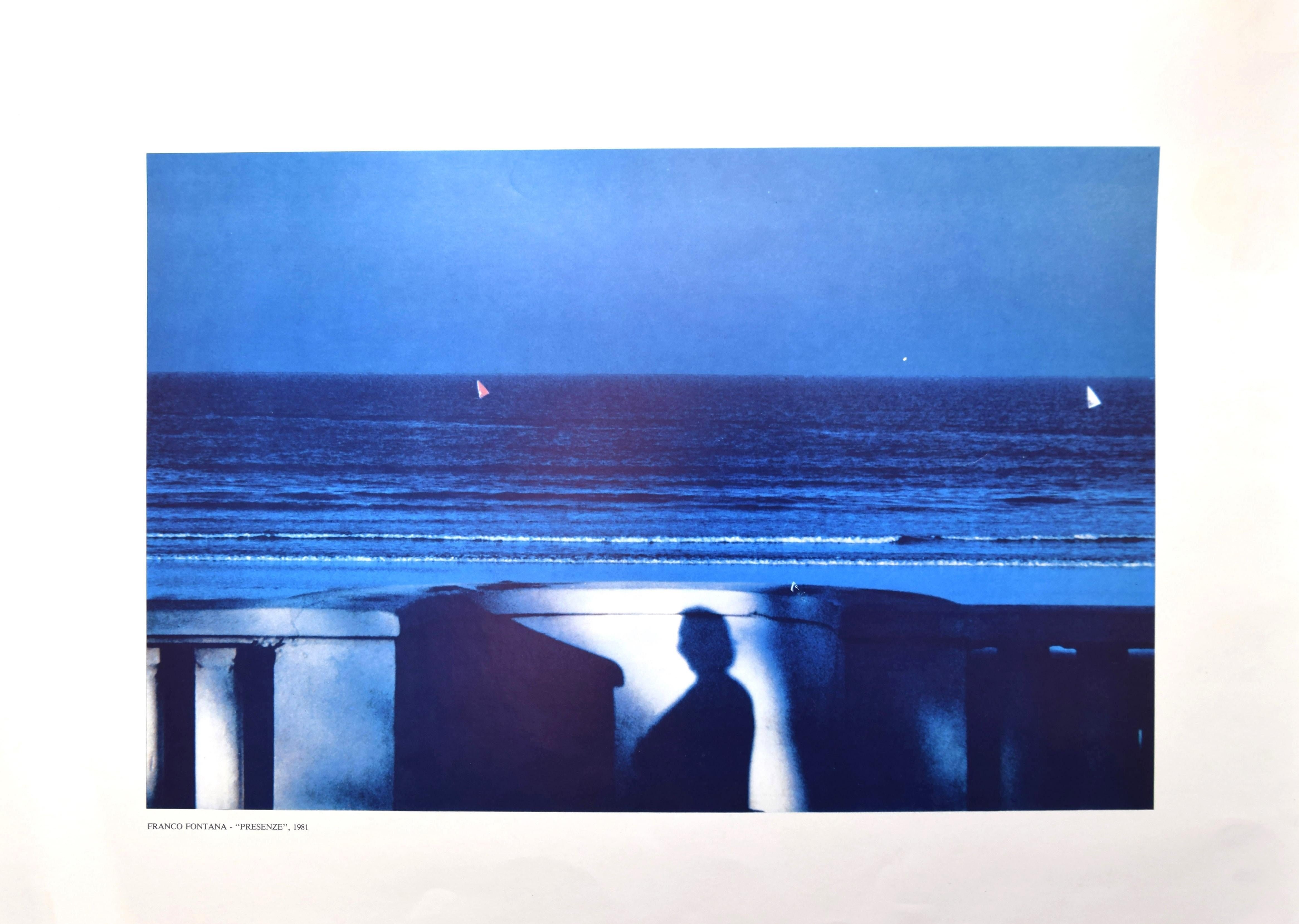 Attendance Blue Sea - Vintage Offset Print by Franco Fontana - 1981