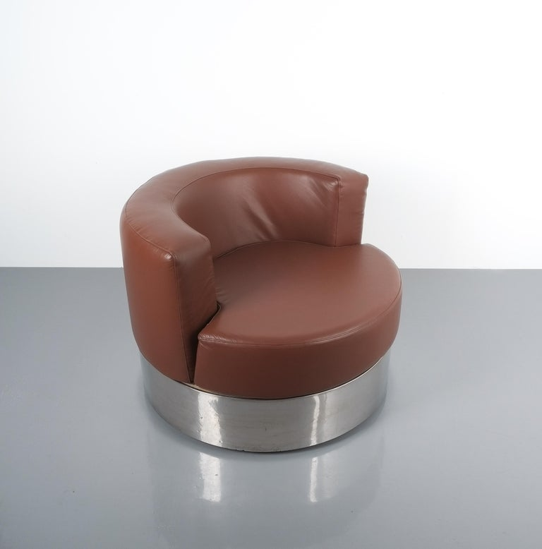 Franco Fraschini Brown Leather Chair for Driade, Italy, 1965 For Sale 4