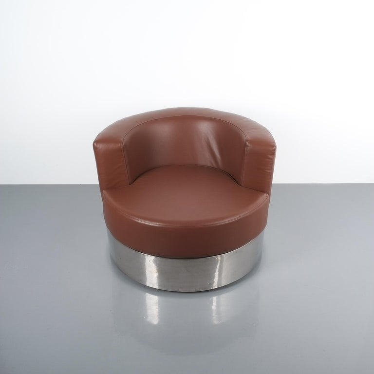 Mid-Century Modern Franco Fraschini Brown Leather Chair for Driade, Italy, 1965 For Sale