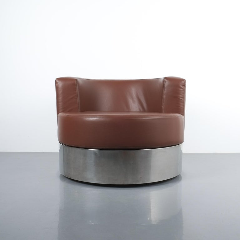 Italian Franco Fraschini Brown Leather Chair for Driade, Italy, 1965 For Sale