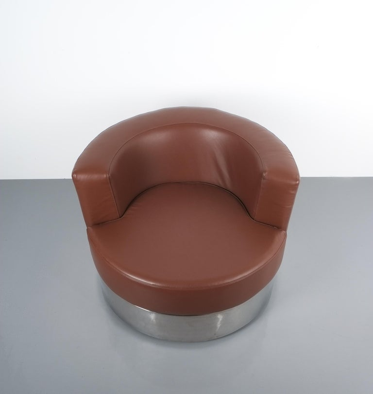 Franco Fraschini Brown Leather Chair for Driade, Italy, 1965 In Good Condition For Sale In Vienna, AT