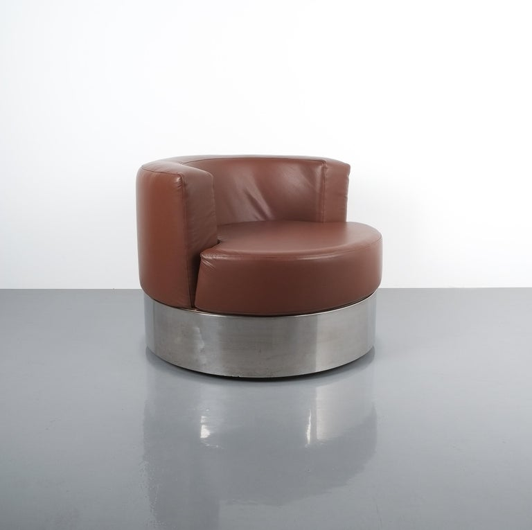 Franco Fraschini Brown Leather Chair for Driade, Italy, 1965 For Sale 1