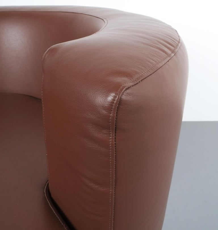 Franco Fraschini Brown Leather Chair for Driade, Italy, 1965 For Sale 2