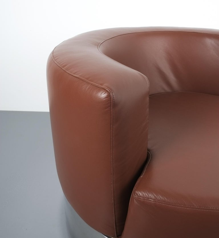 Franco Fraschini Brown Leather Chair for Driade, Italy, 1965 For Sale 3