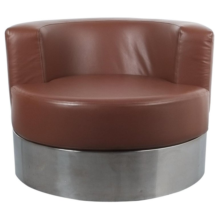Franco Fraschini Brown Leather Chair for Driade, Italy, 1965 For Sale