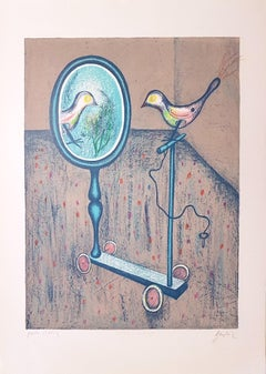 At the Mirror - Original Lithograph by Franco Gentilini - 1970s