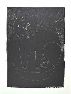 Black Cat - Original Offset Print by Franco Gentilini - 1970s