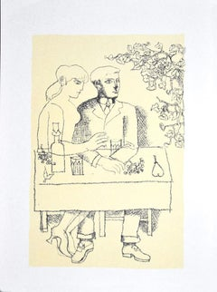 Dining - Original Photo-lithograph by Franco Gentilini - Late 20th Century