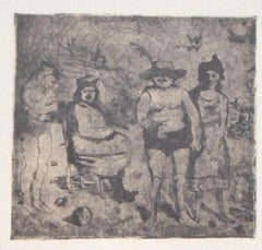 Family Scene - Vintage Offset Print by Franco Gentilini - 20th Century