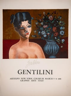 Franco Gentilini - Girl and Flower  - 1981 old exhibition art print, Lithograph